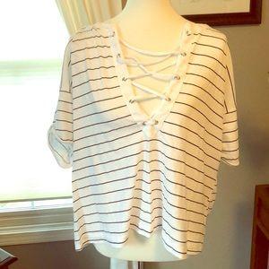 Wildfox Striped Criss Cross Tie - Up T shirt